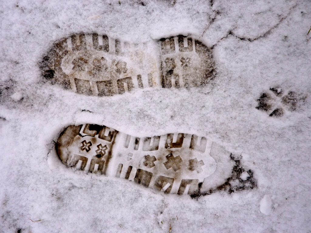 footprints going opposite directions